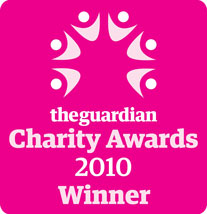 Winners logo of the Guardian Charity Awards 2010